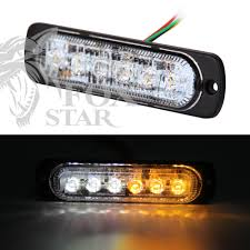 Bright White & Amber 6 LED Car Truck Van Side Strobe Light Warning ...