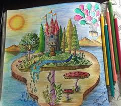 Enchanted Forest Castelo No Cogumelo Floresta Encantada Johanna Basford Adult ColoringColoring BooksArtwork