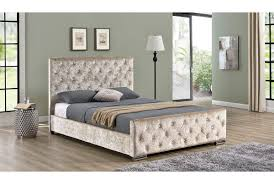 Super King Size Ottoman Bed by Beaumont Diamante Crushed Champagne Gold Fabric Upholstered Velvet