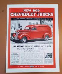 1939 CHEVY CHEVROLET Trucks Red Panel Van Car Auto Original Vintage ...