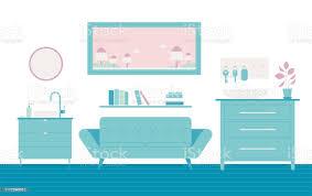 horizontale anordnung der möbel im wohnzimmer stock vektor und mehr bilder blau