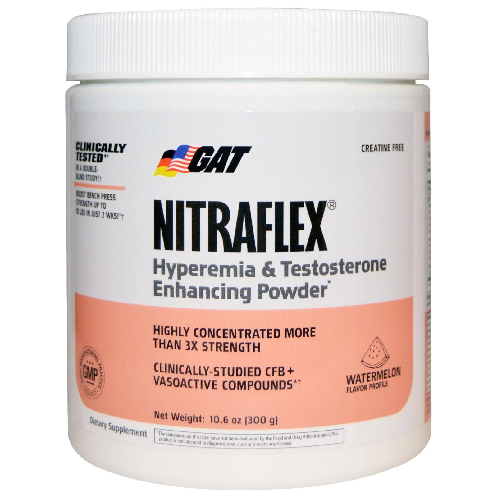 GAT Clinically Tested Nitraflex Testosterone Enhancing Pre Workout - Watermelon, 300g