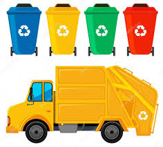100 Rubbish Truck Truck In Yellow Color And Four Trashcans Stock Vector