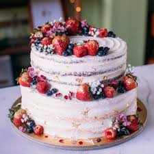 Two Tier Rustic Floral Berry Cake