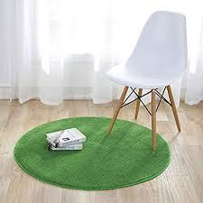 fouriding einfarbig rund teppich weicher kurzflor teppiche fürs wohnzimmer esszimmer kinderzimmer schlafzimmer und die küche geeignet grün 100cm