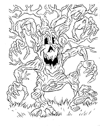 Tree Scary Halloween Coloring Pages
