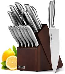 Kitchen Knive Set Knife Set 14 Pieces Kitchen Knife Set Hobo Wooden Knife Block Set Chef S Knife Set With Sharpener High Stainless Steel Cutlery Set Gift Silver