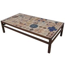 coffee table by willy beck with ceramic tile top by tue poulsen at