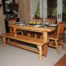 Heres A Dining Table Set With Bench Perfect For The Log Cabin Or Home Seating