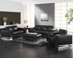 Graceful Black And Grey Living Room Ideas With Wall Paint Also Leather Sofa Sets