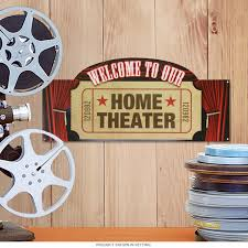 Home Theater Welcome Movie Ticket Stub Metal Sign