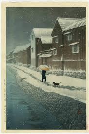 Woodblock Print Snow At Shinkawa