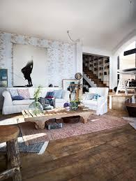 wohnzimmer im vintage look holztisch eklektisch t