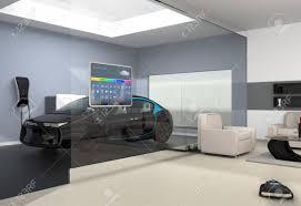 hausautomation bedienfeld an der glaswand der glaswand des wohnzimmer könnte schwarz elektro auto parkplatz in der garage zu sehen