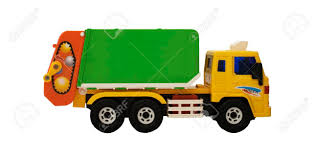 100 Toy Trash Truck Left Side Yellow Orange And Green Colors Stock