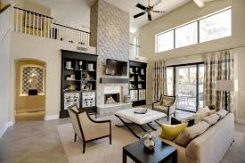 small living room with fireplace white shiny floor tiles bookcase