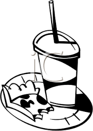 Black And White Clipart Picture A Slice Pizza And A Soda