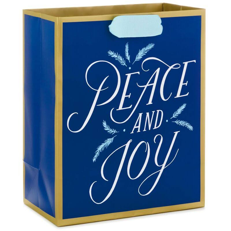 "9"" Peace and Joy on Blue Gift Bag"