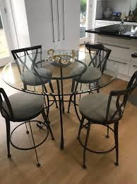 Bargain! Glass High Top Dining Table And 4 Swivel Chairs | In Holywood ... Hanover Traditions 5piece Alinum Outdoor Ding Set With Swivel Chairs With Casters A R T Valencia Castered Chair In Indoor Chromcraft Kitchen Revington Table Amazoncom Morocco Square And Four On Wheels Tvdesignorg Astounding Value City Fniture Room Cool Haddie 8 Cancupinfo Mesmerizing Cheap Dinette Sets Immaculate Lowes Sling Covers Six Patio Cushion Tilt Coaster Mitchelloak 5 Piece 3in1 Game Alkar Billiards