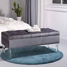 glitzhome sitzbank mit stauraum aus samt mit acryl beinen gepolstert mit sitz für schlafzimmer casual 3