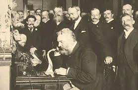Alexander Graham Bell Demonstrating The Telephone In 1876