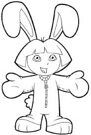 Dora In Bunny Costume The Explorer Coloring Page