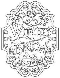 Witches Brew Apothecary Label Coloring Page