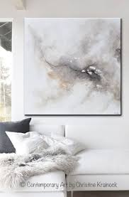 ORIGINAL Art Abstract Grey White Painting Introspective Original Modern Large