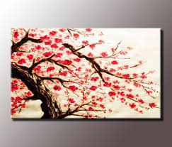Stunning Red Cherry Blossom Painting 34x20 Inch Canvas Wall Art Print