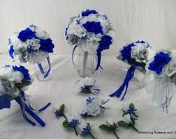 Royal Blue Silver And White Bridal Boquets Silk Rose Wedding Package Roses 13 Pieces Made To