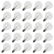 clear globe g40 base light bulbs 1 5 inch pack of 25