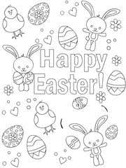 Easter Coloring Card 3 Happy