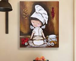 Hand Painted Kitchen Wall Art Red Decor Acrylic Painting Rustic Gift For Husband