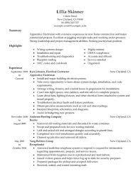 Resume Examples Electrician Unique Apprentice Sample Visualization