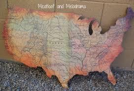 USA Wall Art Screenprinted United States Map Rustic Burlap USA