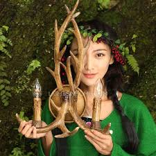 resin material 2 light country antler decorative wall sconces