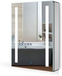quavikey led spiegelschrank 50x70cm badezimmer spiegelschrank aluminium mit led beleuchtung lichtspiegelschrank antibeschlag touchschalter helligkeit