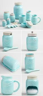 Blue Mason Jar Ceramic Collection Turquoise Kitchen DecorCow