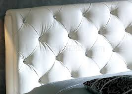 Diamond Tufted Headboard With Crystal Buttons by Bedroom Beautiful White Faux Leather Crystal Button Tufted