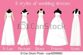 Wedding Dresses Different Styles Mannequins Vector