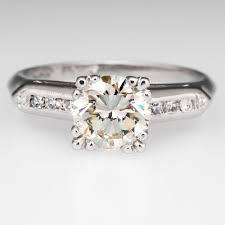 Vintage 1 Carat Round Brilliant Engagement Ring Platinum