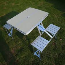 Portable Aluminium Meco Table With 4 Seat Outdoor Furniture ...