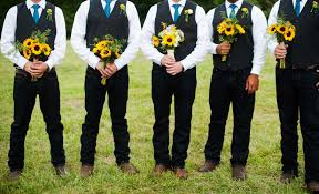 Groom And Groomsmen Casual Rustic Black Vests White Button Down Light Blue Necktie Holding Bouquets