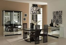 Unique Dining Room Ideas With Mirrored Furniture And Cool Wallpaper