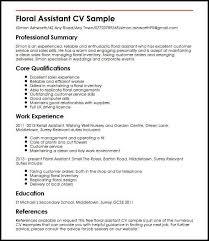Floral Assistant CV Sample