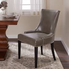 Abbyson Newport Grey Leather Nailhead Trim Dining Chair