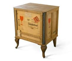Stamp Covered Wooden Shipping Crate With Classic Looking Dresser Legs