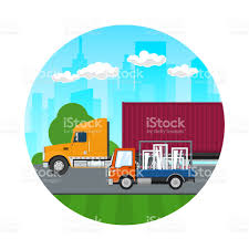 Icon Of Trucks Drive On The Road Stock Vector Art & More Images Of ...