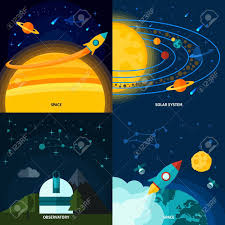 Space And Universe Design Concept Set With Solar System Flat