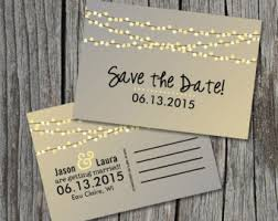 Amazing Sample Save The Date Postcard Rustic String Romantic Lights Decoration Designing Template Printable